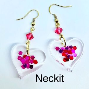 Valentines Day Resin Heart Earrings